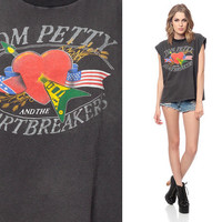 TOM PETTY Shirt 80s and the Heartbreakers Black Tank Top Southern Accents Tour 1980s Band Vintage Faded Cotton Muscle Extra Small Medium XS