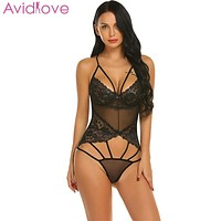Avidlove Women Bodystocking Sexy Costumes Body Suit V-Neck Lace Floral See Through Lingerie Bodysuit Sleepwear