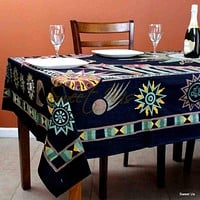 Cotton Celestial Sun Moon Star Tablecloth Rectangle Black Green Orange Linen