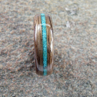 Bentwood Ring Walnut with Turquoise Inlay