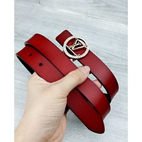 LV 2019 new letter buckle wild simple smooth buckle belt Red