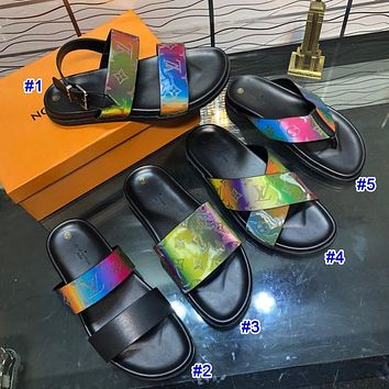 Louis Vuitton LV New Hot Men's and Women's Colorful Chameleon Casual Slipper Sandals