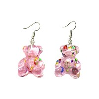 Glitter Teddy Earrings - Pink