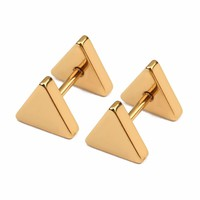 LOULEUR Punk Fashion Gold Black Color Triangle Stainless Screw Stud Earring for Women & Men Helix Ear Piercings Fashion Jewelry