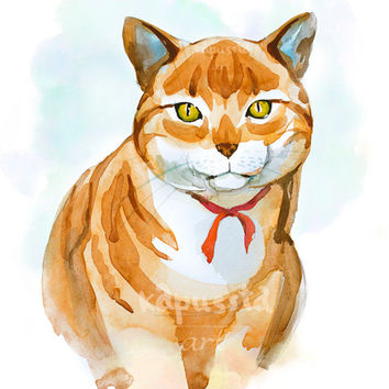 Ginger cat portrait Digital Download Art printable, orange and blue animal art, watercolor painting for cat lovers, art craft supplies