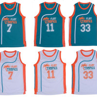 Movie Semi Pro Flint Tropics Jackie Moon 33# Coffee Black 7# Ed Monix 11# Throwback Jerseys All Stitched
