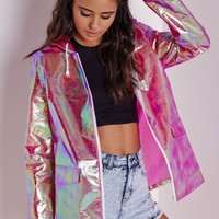 Missguided - Holographic Rain Mac Pink