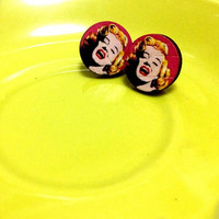 Marilyn Monroe Andy Warhol Pop Art Print on small wooden round Hoop colorful Red and yellow color statement stud earrings