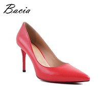 Women High Heel Basic Model Sexy Pointed Toe  Pumps Handmade Shoes