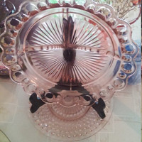 Anchor Hocking Old Colony Grill Plate Pink Depression.