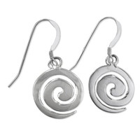 Sterling Silver Swirl Spiral Dangle Earrings