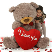 """Fluffy Mocha Valentine's Day Teddy Bear with red """"I Love You"""" heart and bowtie in 4 sizes"""