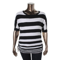Style & Co. Womens Striped Cinched Pullover Sweater