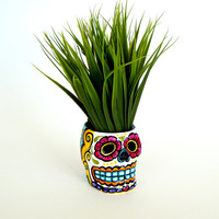 Ceramic Sugar Skull Planter Day of the Dead Hand Painted  Dia de los muertos Candle Holder Pink Yellow Turquoise Folk Art - READY TO SHIP