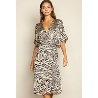 Zebra Faux Wrap Dress