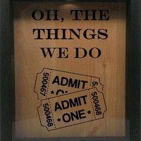 """Wooden Shadow Box Wine Cork/Bottle Cap Holder 9""""x11"""" - Oh The Things We Do with Tickets"""