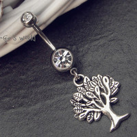 Wish Tree Belly Button Ring Jewelry- Crystal Belly Ring- Silver Wish Tree Charm Dangle Navel Piercing Bar Barbell- B014