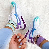 Nike Air Max 270 React Fashionable Women Men Sport Running Shoes Sneakers White&Purple