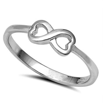 .925 Sterling Silver Infinity Symbol Heart Ring Kids and Ladies Size 3-10