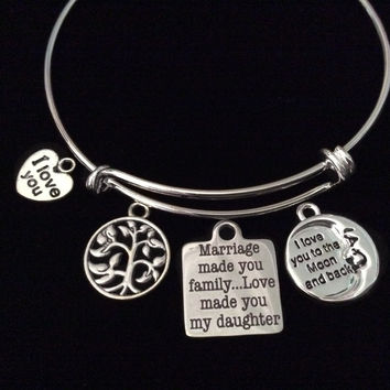 Love To the Moon Marriage Made you Family Daughter Expandable Charm Bracelet Daughter In Law Adjustable Silver Wire Bangle Gift