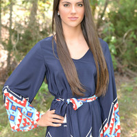 Navy Heart to Heart Belted Tunic Dress