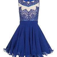 Chi Chi Blue Lace Contrast Prom Dress