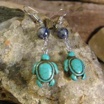 Turtle Earrings Turquoise Turtle and Faceted Lapis Earrings Gifts for Her fromThe Hidden Meadow