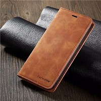Leather Flip Wallet Card Holder Magnetic Case For iPhones and Samsung Galaxy Phones