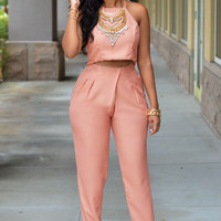 Pinkish Apricot Cut-out Crop Top And  Pleated Pants