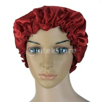 Women's New Pure Silk Night Sleep Cap Sleeping Shower cap for Women Burgundy