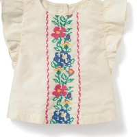 Embroidered Flutter-Sleeve Top for Baby | Old Navy
