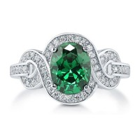 Oval Cut Emerald CZ 925 Sterling Silver Fancy Cocktail Ring 1.86 Ct #r583-em