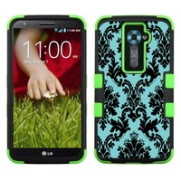 One Tough Shield ® 3-Layer Hybrid phone Case (Black/Green) for LG Optimus G2 - (Victorian Blue/Black)