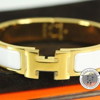Authentic New Hermes H700001f Clic Clac H 0.5in PM White Enamel Bracelet Ghw Tagre™