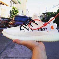 Samplefine2 Off-White x Adidas Yeezy Boost 350V2 Fashion Woman Men Casual Sport Sneakers Shoe White