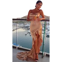 Never Too Late Satin Sleeveless Spaghetti Strap Square Neck Ruffle High Low Maxi Dress - 2 Colors Available
