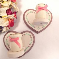 Taper Candle Holders Handcrafted Sconce Vintage Wooden Heart Wall Hanging Candle Cups Vintage 1980's Home Decor White with Mauve Pink Tulips