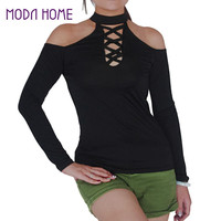 Women T-Shirt Hollow Out Keyhole Halter Neck Top Long Sleeves Cold Shoulder Top Solid Slim Casual Tee Top Black SM6