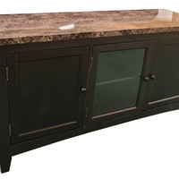 """TV-05L Black Faux Marble 60"""" TV Stand"""