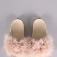 Nude Faux Fur Slippers