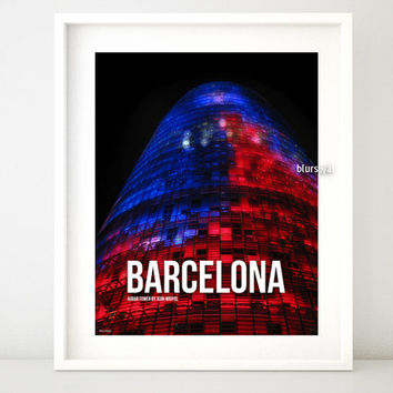 Barcelona printable poster, architecture quote print, Agbar Tower building at night, Spain print, spanish contemporary architecture- bcn 001