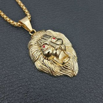 Leo Lion red eyes King Head Face Pendant Golden 316L Stainless Steel HipHop Necklace with 60cm Miami Cuban Curb Chains