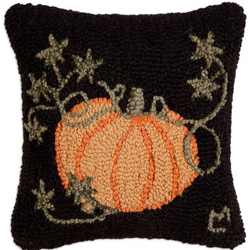 "Cinderella Pumpkin Hooked Wool Pillow - 14"" x 14"""