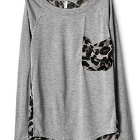 # Free Shipping # Ladies Light Grey Cotton and Chiffon Top One Size WO11664lg from ViwaFashion
