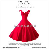 "Tea Length ROCKABILLY  Red 50"" Swing Dress, The CHERI by Hardley Dangerous Couture,  1950s Style Pin Up, Casual Stretch Knit 50s Dress"