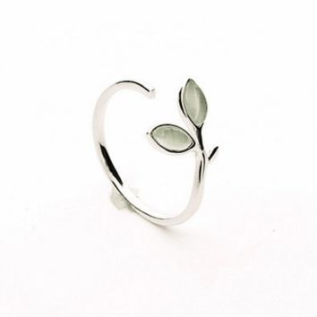 Seedling of Life Sterling Silver Opal Ring