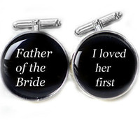 love her First Cufflinks Father of the Bride Wedding personalized gift for him guys men photo cuff links Birthday dad daddy