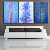 Abstract the trees 3pcs canvas painting home decor best background decorative wall painting NO FRAME wall poster picture