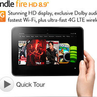 """Kindle Fire HD 8.9"""" 4G LTE Wireless, Dolby Audio, Dual-Band Wi-Fi, 32 GB - Includes Special Offers (Previous Generation - 2nd)"""