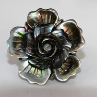 Ring, natural black sea shell ring, big shell flower ring, best gift for wedding,birthday and Christmas
